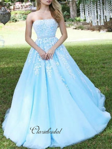 Gorgeous Strapless Lace Prom Dresses, A-Line Beaded Elegant Prom Dresses