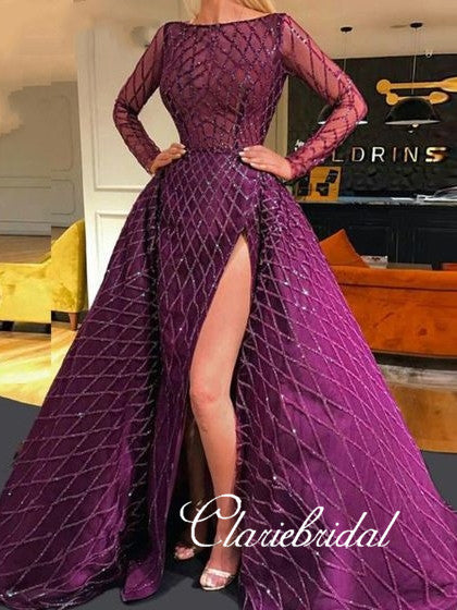 Long Sleeves Purple Sequin Tulle Prom Dresses, Side Slit Prom Dresses, Gorgeous Prom Dresses