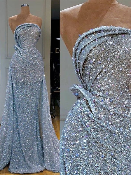 Strapless Long Mermaid Blue Sequin Prom Dresses, Sparkle Long Prom Dresses, Prom Dresses