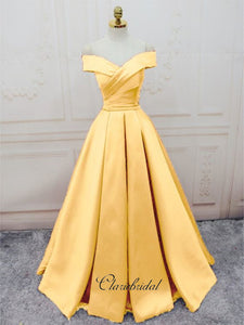 Off The Shoulder Satin Long Prom Dresses, Yellow A-line Prom Dresses, Custom Prom Dresses