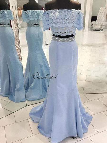 2 pieces Lace Prom Dresses, Beaded Evening Party Prom Dresses