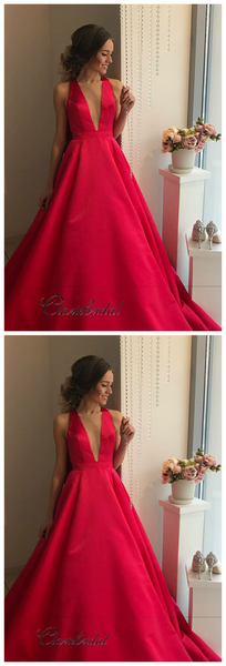 Red Color A-line Satin Long Prom Dresses, Simple V-neck Evening Party Prom Dresses