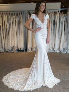 Lace Design Popular Wedding Dresses,V-neck Sexy Wedding Dresses