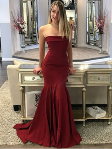 Mermaid Strapless Sweep Train Prom Dresses Long, Jersey Trumpet 2021 Prom Dresses