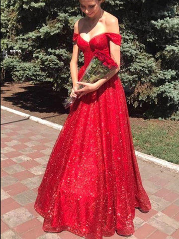 Gorgeous A-line Sequins Long Prom Dresses, Off Shoulder Red 2021 Prom Dresses