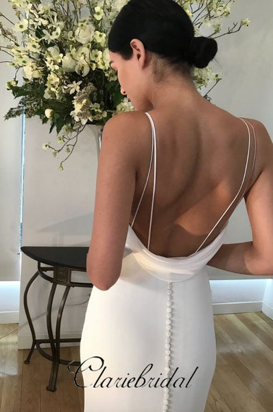 Simple V-neck Ivory Jersey Long Wedding Dresses, Mermaid Wedding Dresses