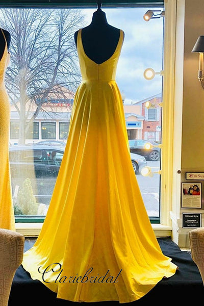 Elegant Long Yellow Prom Gowns, A-line Prom Dresses, High Slit Prom Dresses Long