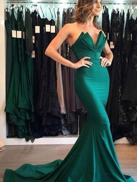 Emerald Green Mermaid Elastic Satin Prom Dresses, Prom Dresses, Long Prom Dresses