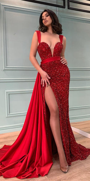 Straps Red Satin Sequin Prom Dresses, Sexy Long Prom Dresses, Cheap Prom Dresses, 2021 Prom Dresses