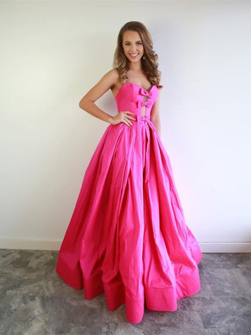 Sweetheart Long A-line Hot Pink Satin Prom Dresses, Simple Prom Dresses, 2021 Prom Dresses, Cheap Prom Dresses