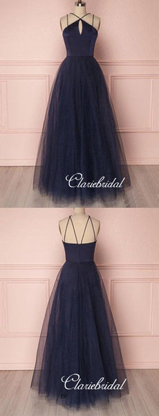 Simple Tulle A-line Design Prom Dresses, Evening Party Cheap Long Prom Dresses