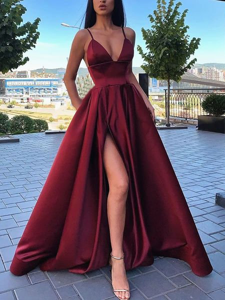 Spaghetti Long A-line Side Slit Burgundy Prom Dresses, Simple Popular Prom Dresses, 2020 Prom Dresses