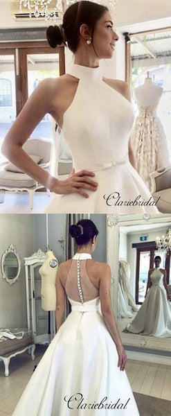 Sleeveless Halter Satin Wedding Dresses, A-line Satin Trendy Wedding Dresses