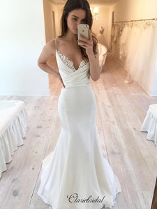 Spaghetti Straps Wedding Dresses, V-neck Mermaid Wedding Dresses, Bridal Gowns