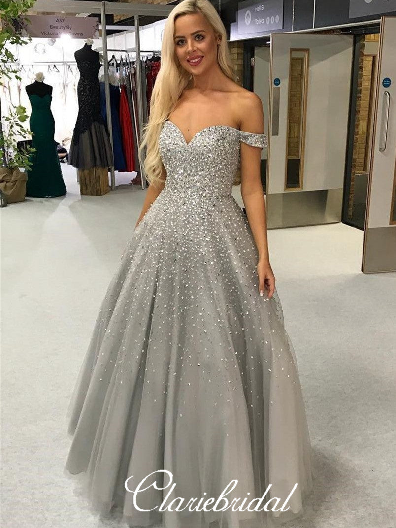Off Shoulder Long A-line Grey Tulle Beaded Prom Dresses, Lovely Long Prom Dresses, New 2020 Prom Dresses