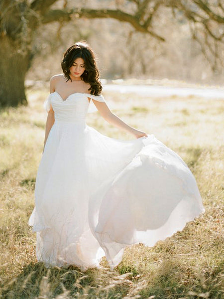 Off Shoulder Simple Chiffon Wedding Dresses, Country Wedding Dresses, Long Wedding Dresses
