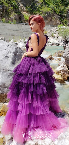 Deep V-neck Gradient Purple Tulle Prom Dresses, Lovely Fluffy Prom Dresses, New 2020 Prom Dresses