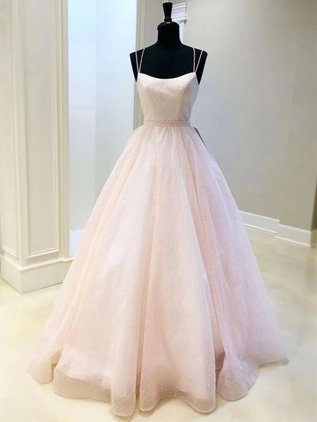 Lovely Shiny Sequin Tulle Prom Dresses, Popular 2020 Prom Dresses, Long Prom Dresses