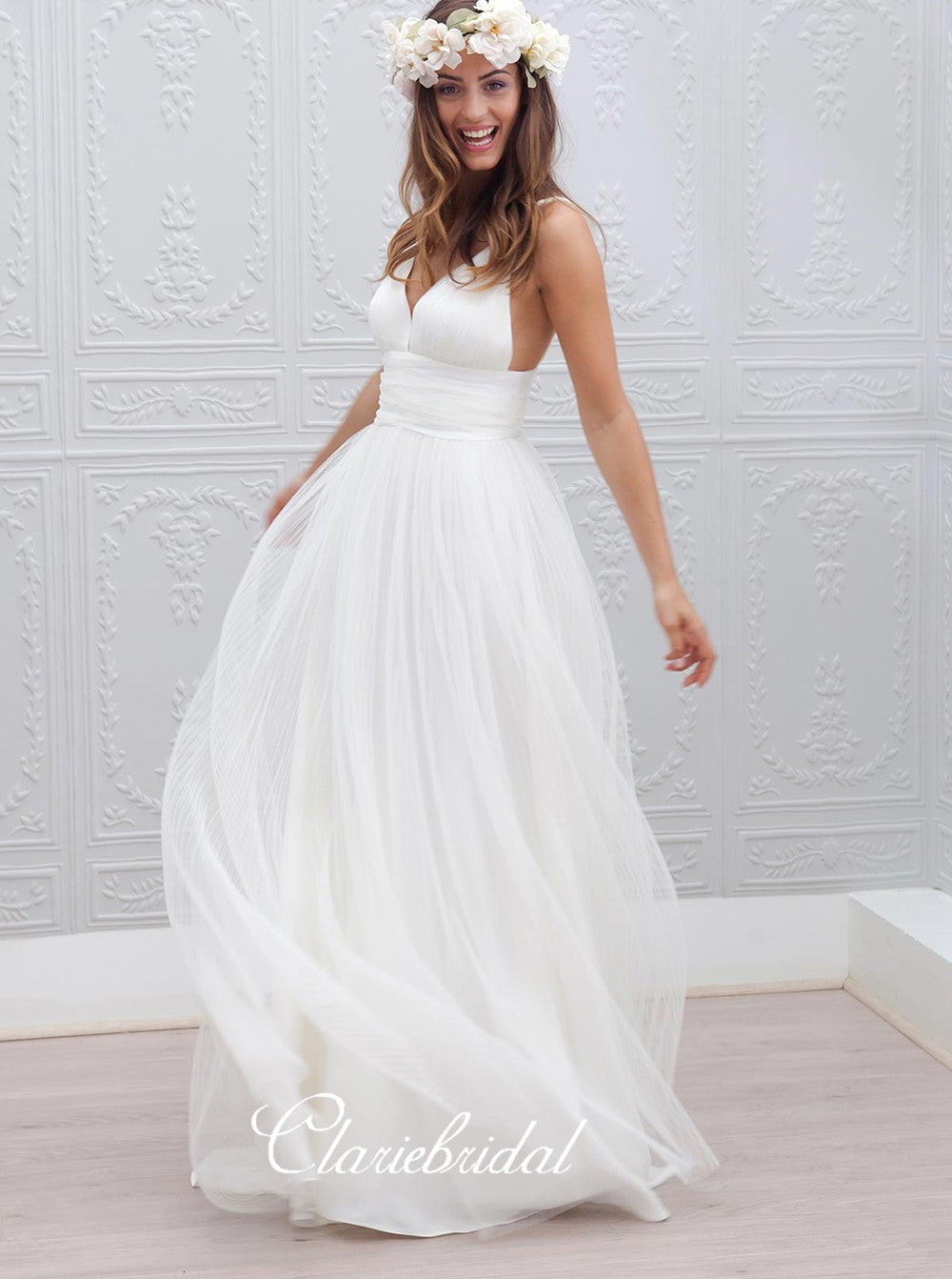 Simple Design Long Wedding Party Dresses, V-neck Tulle Wedding Dresses