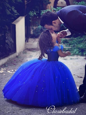 Off Shoulder Ball Gown Royal Blue Tulle Beaded Flower Girl Dresses