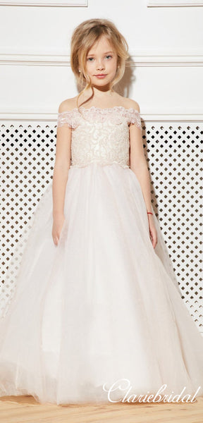 Off Shoulder Lace Tulle Flower Girl Dresses, Lovely Little Girl Dresses