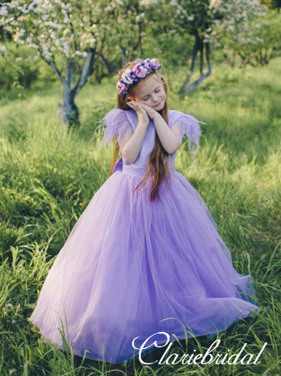 Lovely Satin Tulle Flower Girl Dresses With Bow Knot