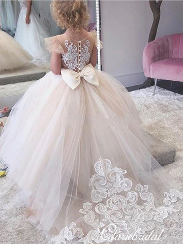 Cap Sleeves Lovely Tulle Lace Flower Girl Dresses