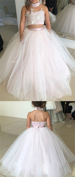 2 Pieces Tulle Appliques Flower Girl Dresses, High Neck Flower Girl Dresses, Little Girl Dresses
