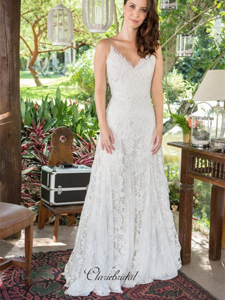 Spaghetti Lace A-line Wedding Dresses, Popular Lace Wedding Dresses