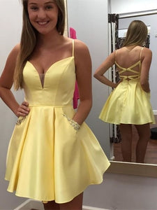 Simple Yellow Satin Homecoming Dresses, Short Prom Dresses, Popular Homecoming Dresses