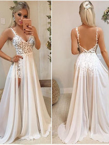 Straps Long A-line Lace Chiffon Prom Dresses, 2 Pieces Prom Dresses, Newest Prom Dresses