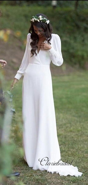 Cheap Long Sleeves Wedding Dresses, Deep V-neck Chiffon Bridal Gowns