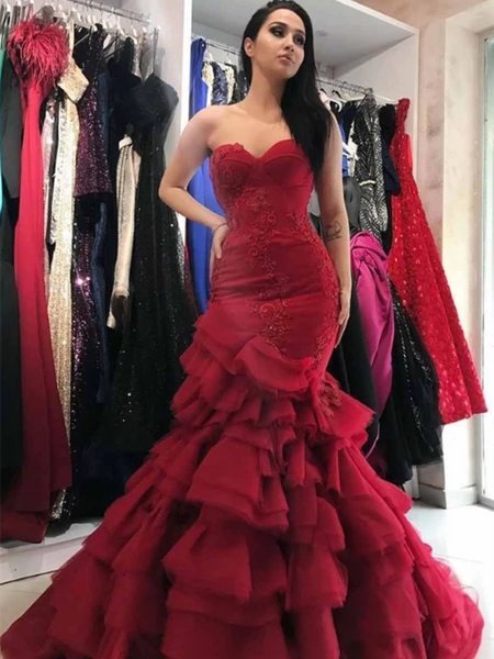 Sweetheart Long Mermaid Red Lace Tulle Prom Dresses, Formal Dresses, Long Prom Dresses, Wedding Gown