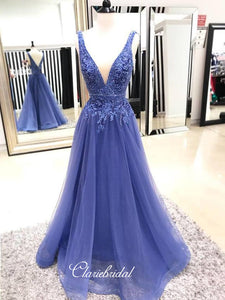 V-neck A-line Lace Long Prom Dresses, Latest Prom Dresses 2019