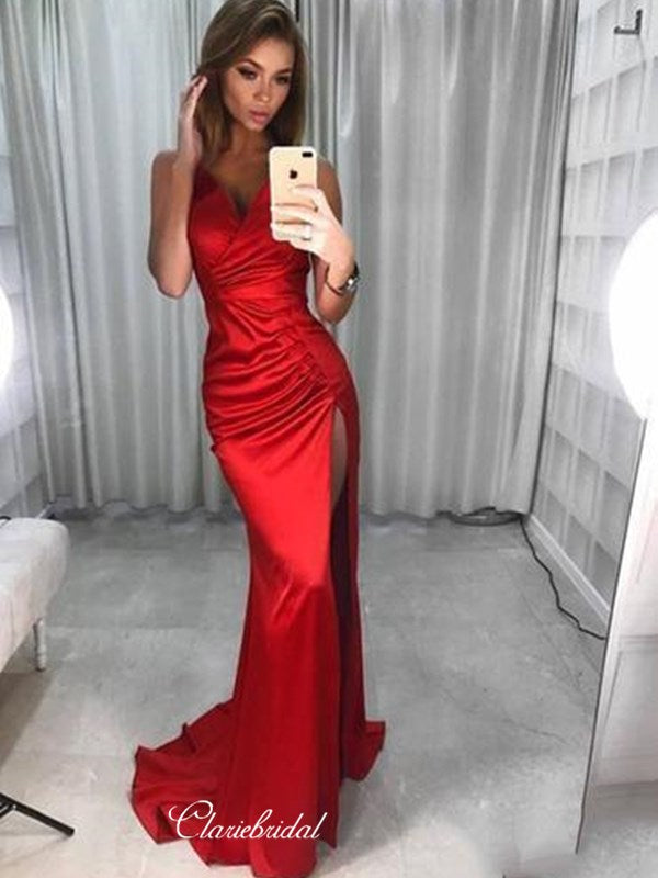 Simple Long Evening Party Dresses, Sexy High Slit Mermaid Prom Dresses