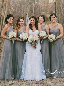 One Shoulder Long A-line Grey Tulle Bridesmaid Dresses
