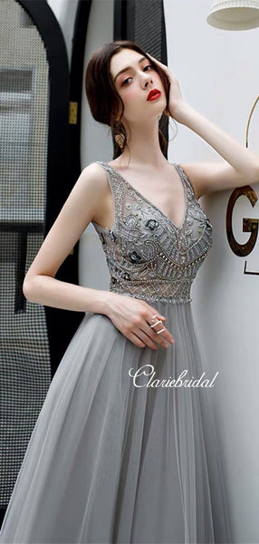 V-neck Grey Tulle Beaded Prom Dresses, Long Prom Dresses, New 2020 Prom Dresses