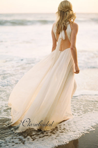 Halter Strap Casual Wedding Dress for Beach, Unique Fashion Custom Wedding Dresses