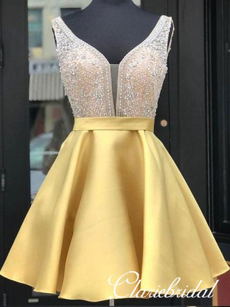 V-neck Rhinestone Beaded Satin Homecoming Dresses, Short Prom Dresses