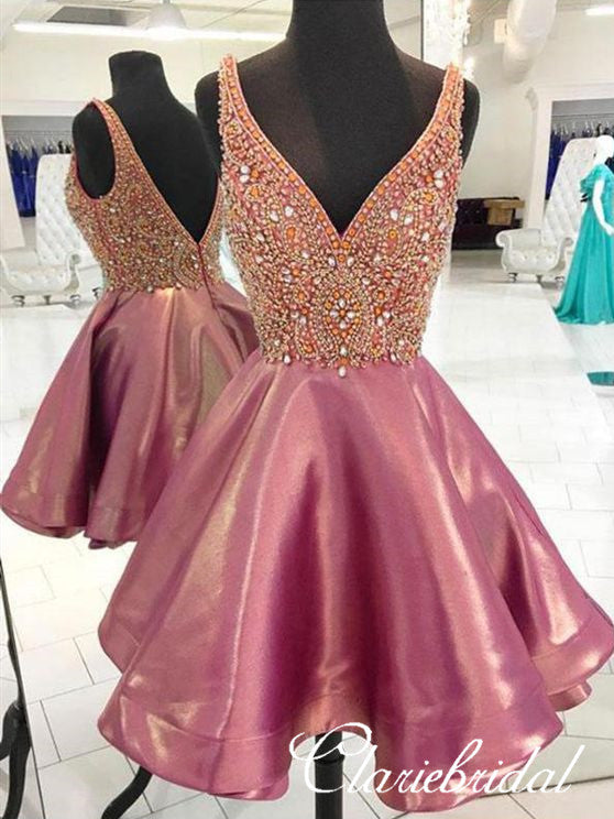 V-neck Rhinestone Short Prom Dresses, Homecoming Dresses