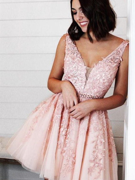 V-neck Pink Lace Beaded Homecoming Dresses, Short Prom Dresses