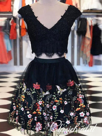 2 Pieces V-neck Black Lace Floral Tulle Homecoming Dresses