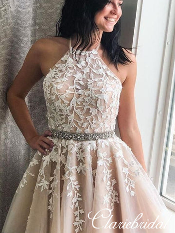 Halter Lace Tulle Beaded Homecoming Dresses, Lovely Short Prom Dresses