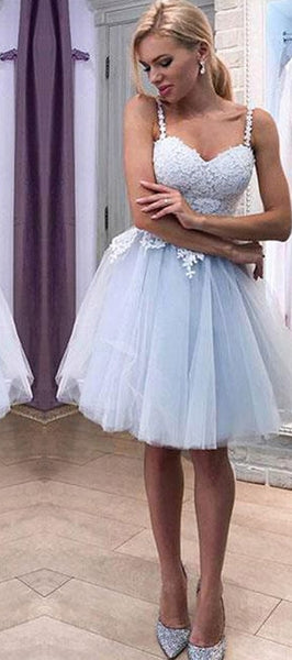 Sstraps Light Blue Lace Tulle Homecoming Dresses, Cute Short Prom Dresses, Homecoming Dresses