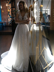 V-neck Long A-line Sequin Tulle Wedding Dresses, Sparkle Wedding Dresses, Long Wedding Dresses