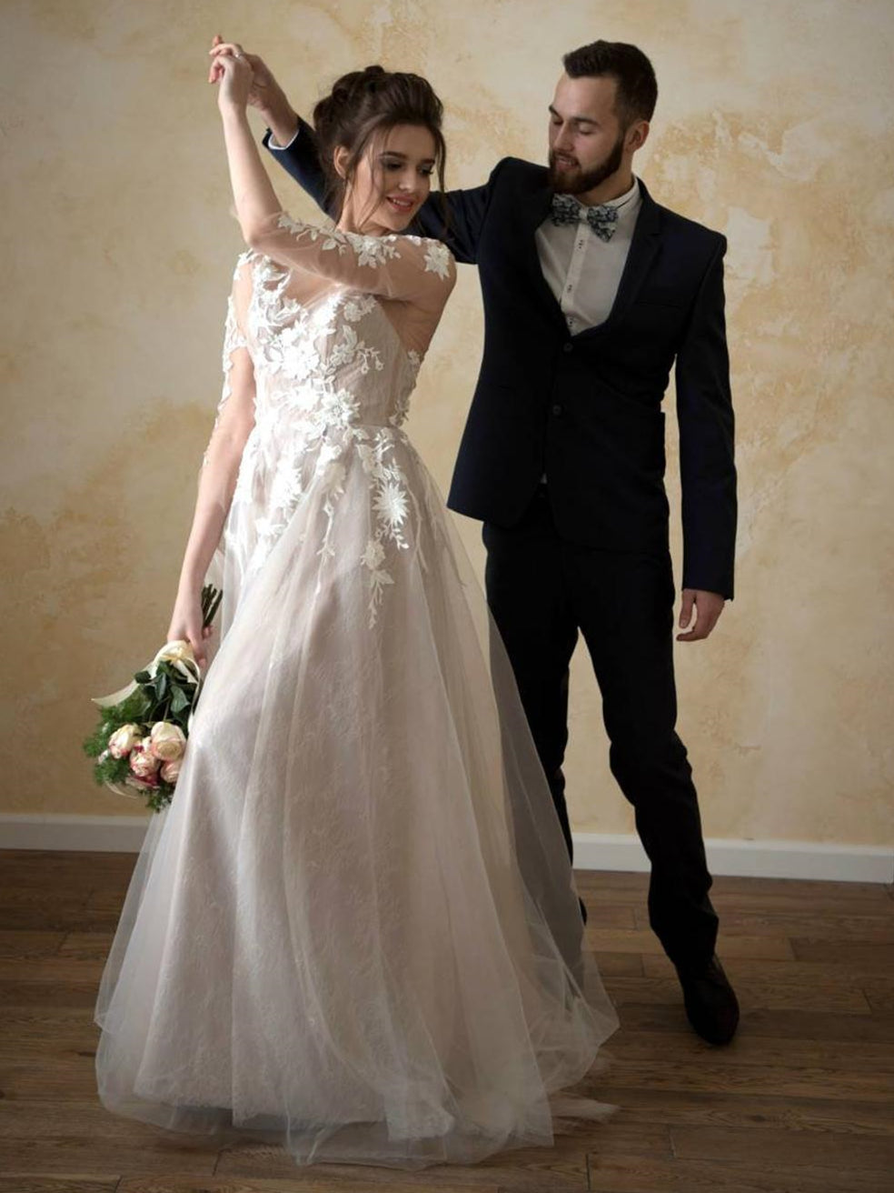 3/4 Sleeves Lace Tulle Wedding Dresses, Country Wedding Dresses,  Long Wedding Dresses