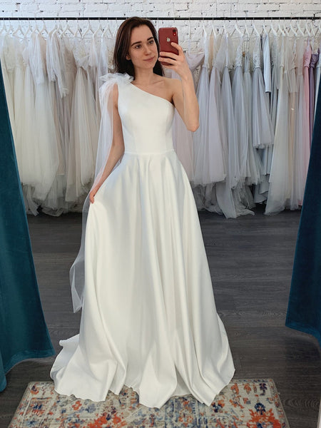 One Shoulder Ivory Satin Tulle Wedding Dresses, A-line Wedding Dresses, Newest Wedding Dresses