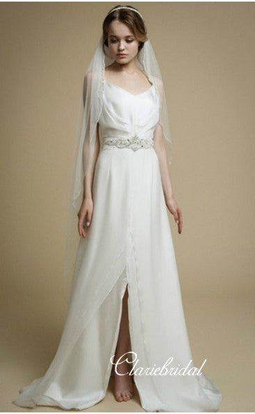 Spaghetti Long A-line Chiffon Satin Wedding Dresses, Country Wedding Dresses With Beaded Belt