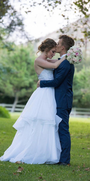 Sweetheart Lace Top Organza Wedding Dresses, A-line Wedding Dreses, Country Wedding Dresses