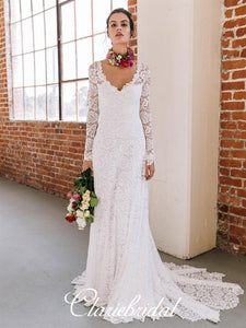 Ivory Lace Mermaid Wedding Dresses, Long Sleeves Wedding Dresses, Open Back Bridal Gown, Wedding Dresses